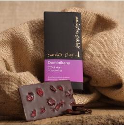 Czekolada 70% kakao z Dominikany + Żurawina